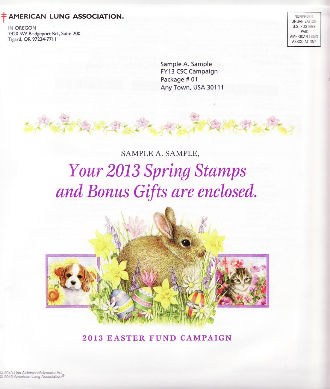 2013 Spring Seal Easter Fund Campaign Letter