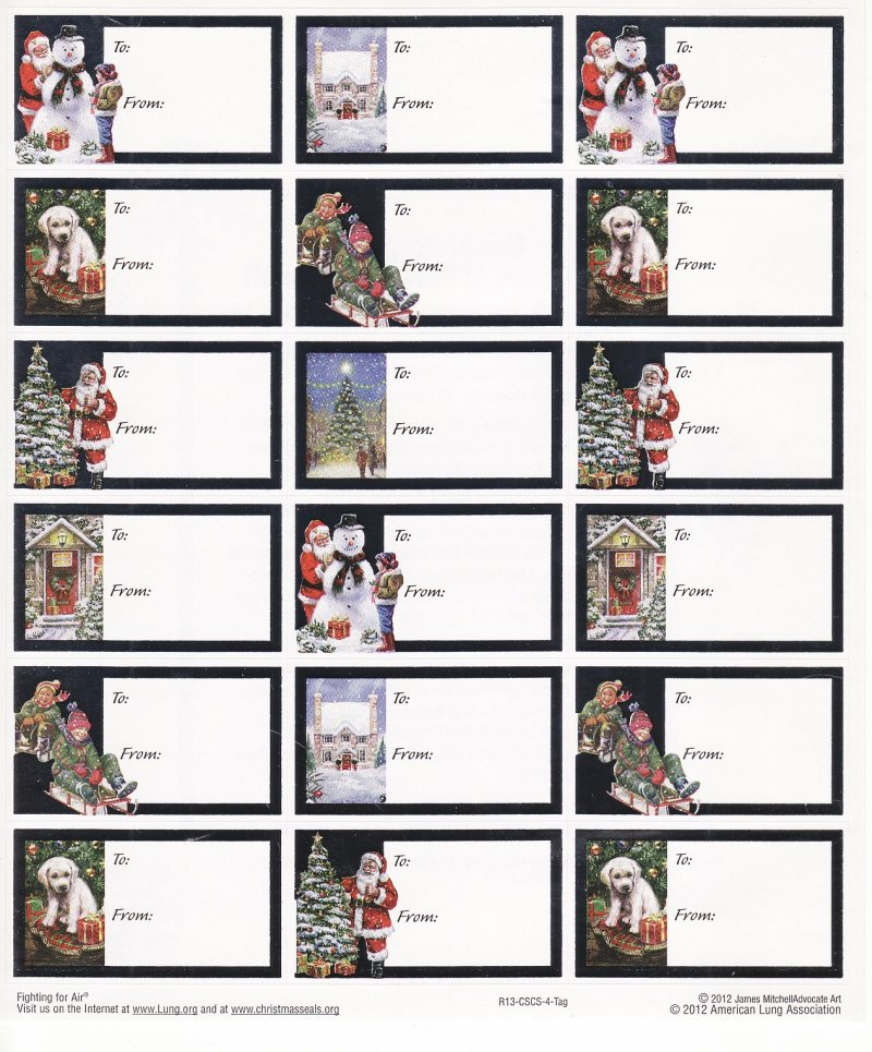 2012-1.7x U.S. National Christmas Seals Gift Tags