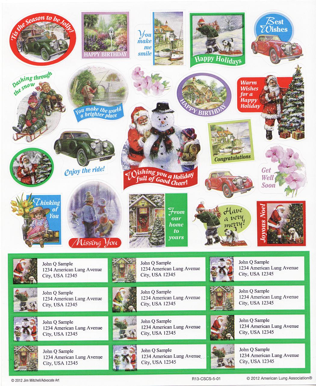 2012-1.7x U.S. National Christmas Seals Gift Tags