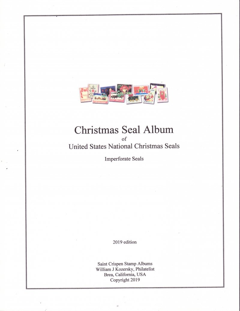 Saint Crispen U.S. National Christmas Seal Stamp Album, Imperforate Seals, 1917-1997 (White)