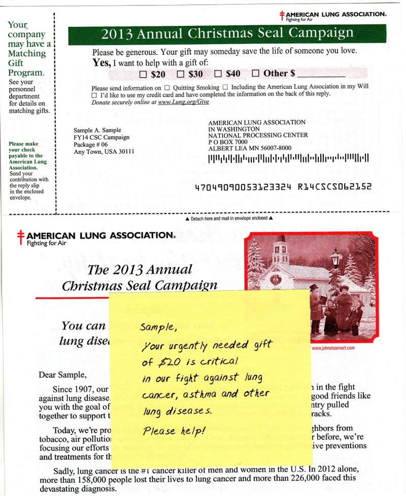 2013 ALA Annual Christmas Seal Campaign Letter