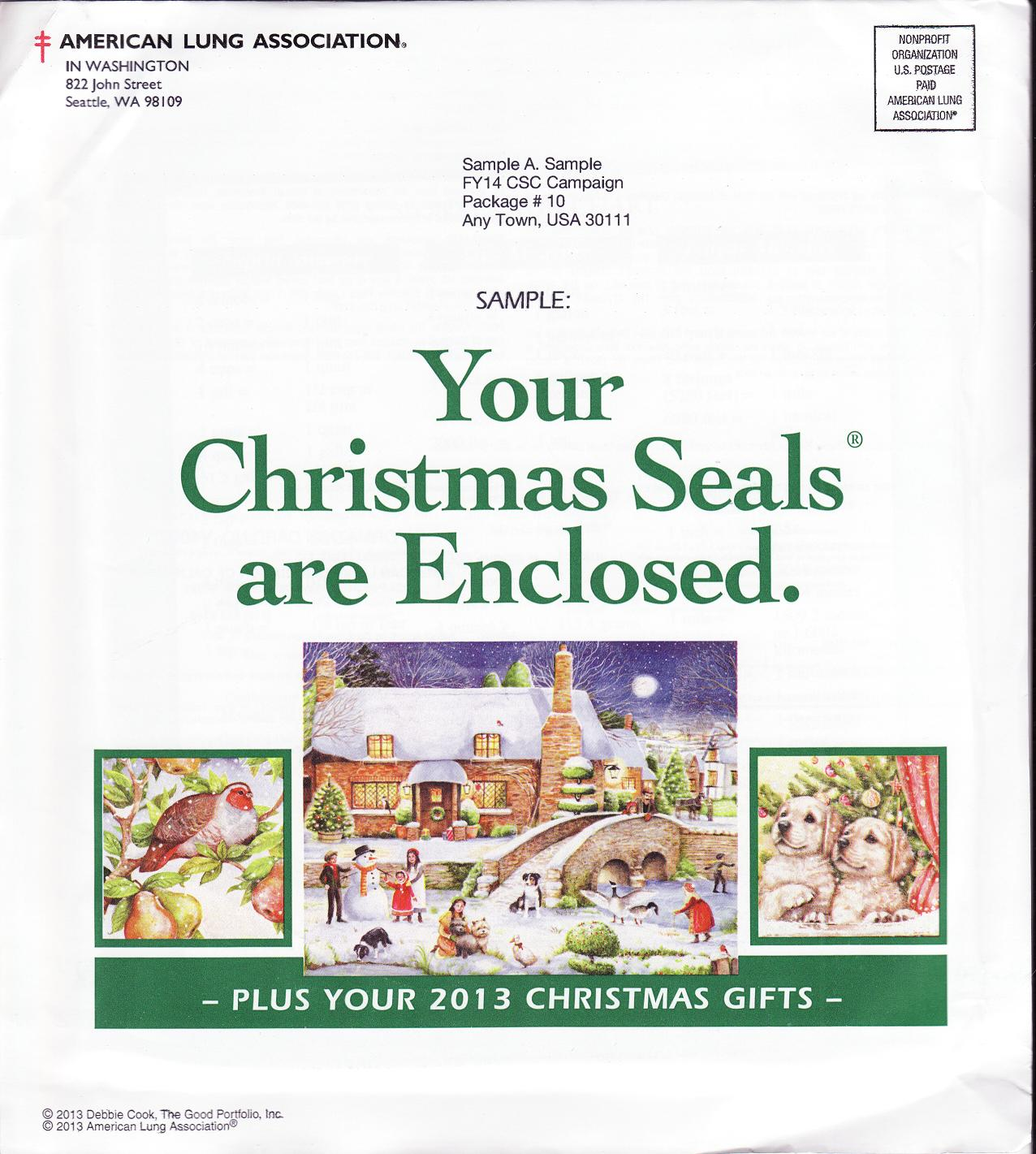 2013-T3, 2013 U.S. Test Design Christmas Seal Campaign Packet, R14CSCS10 - reverse