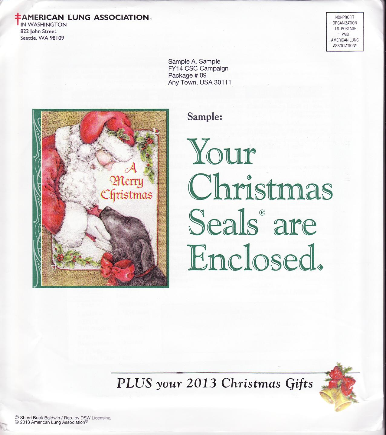 2013-T4, 2013 U.S. Test Design Christmas Seal Campaign Packet, R14CSCS09 - reverse