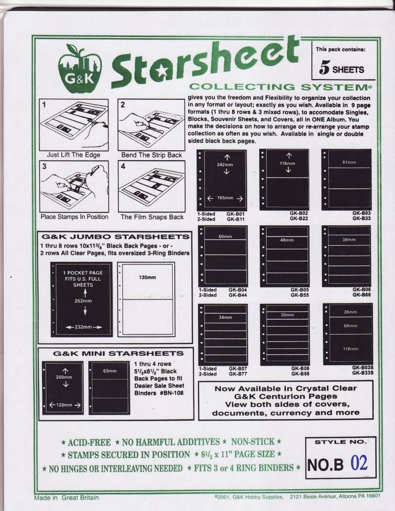 G&K Starsheet Stamp Stock Sheets two (2) rows single-sided measurements