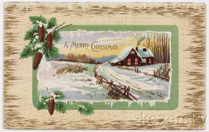 Christmas Postcard, 1912 Portland Maine Postmark