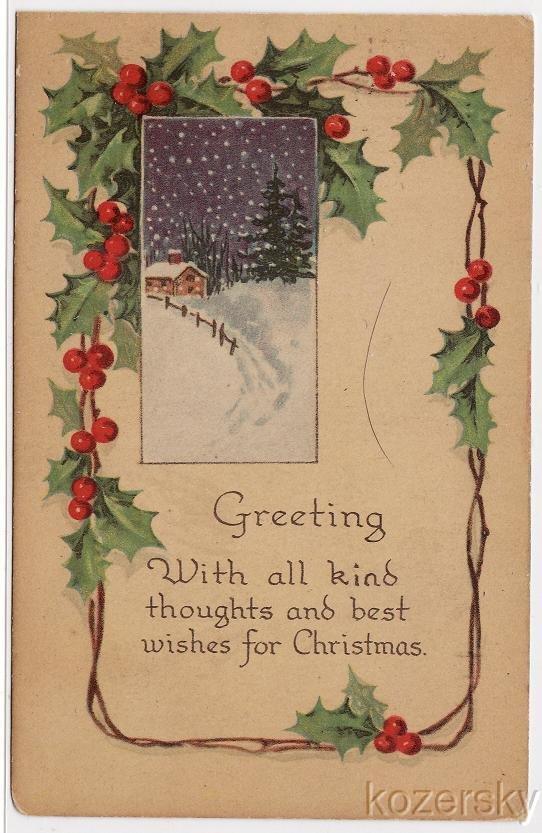 Christmas Postcard, 1919 Illinois Postmark