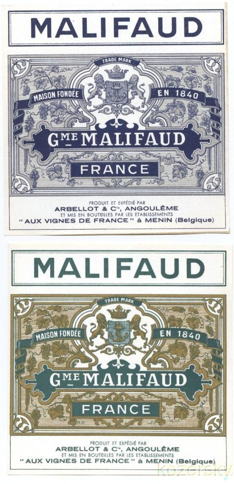 Malifaud French Wine Labels Set of 2 Labels