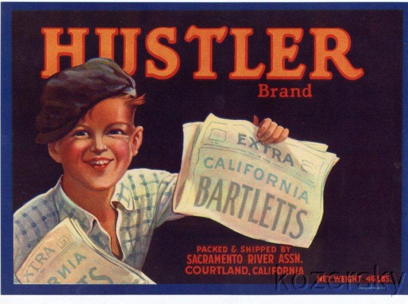 Hustler Brand Pear Crate Label