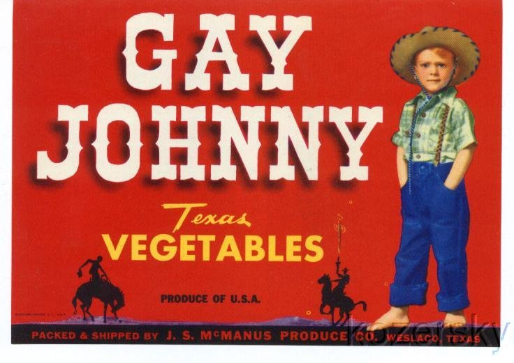 Gay Johnny Vintage Vegetable Crate Label