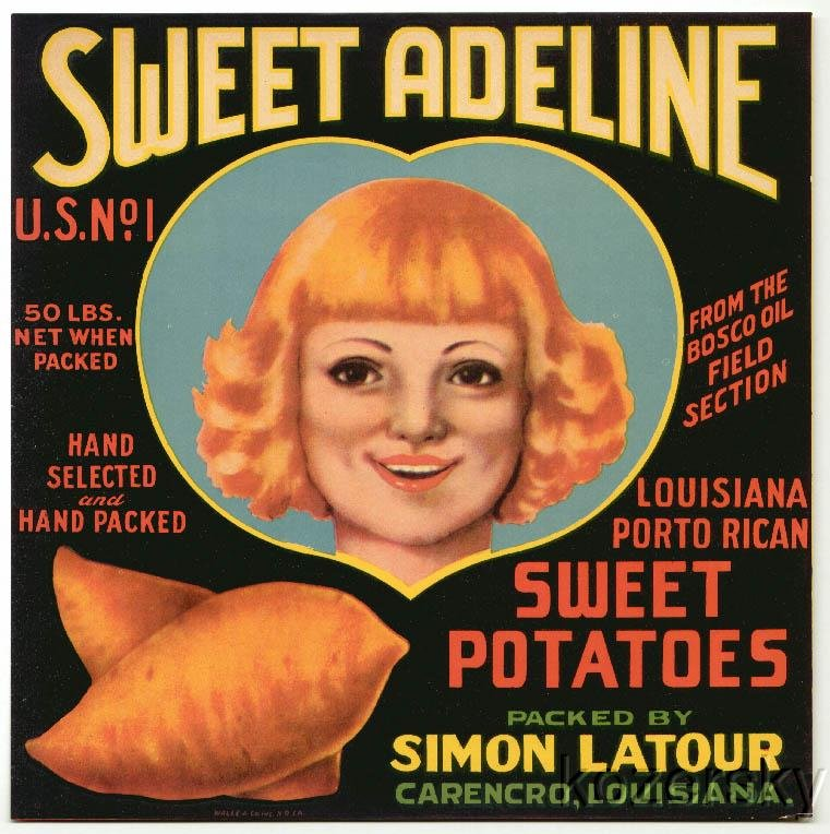 Sweet Adeline Brand Porto Rican Sweet Potatoes Crate Label