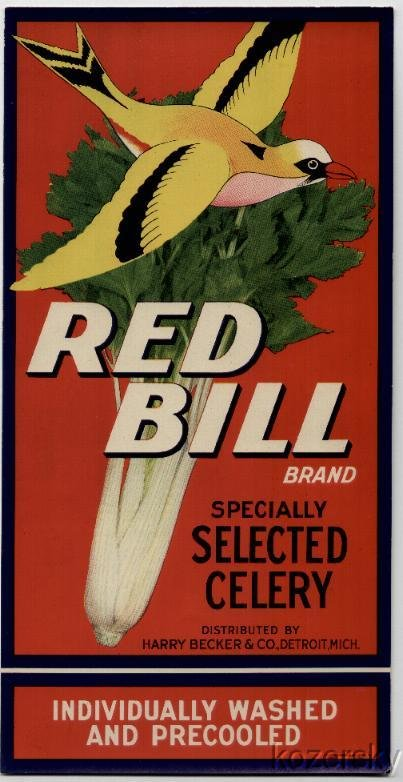Red Bill Brand Celery Crate Label