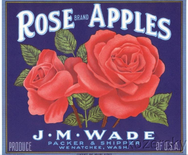Rose Brand Apple Crate Label