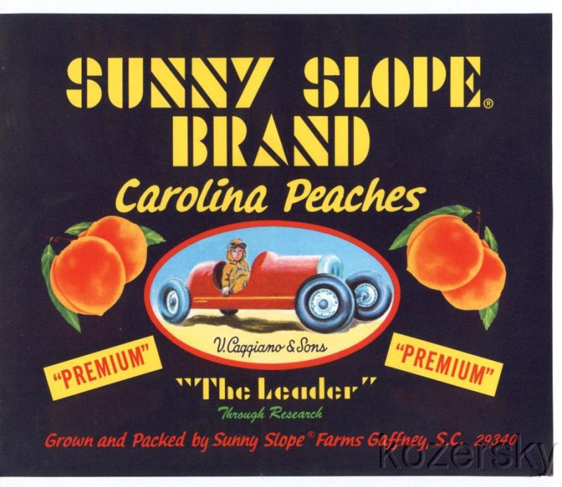Sunny Slope Brand Peach Crate Label