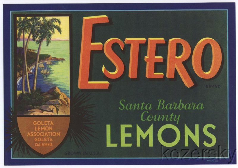 Estero Brand Lemon Crate Label