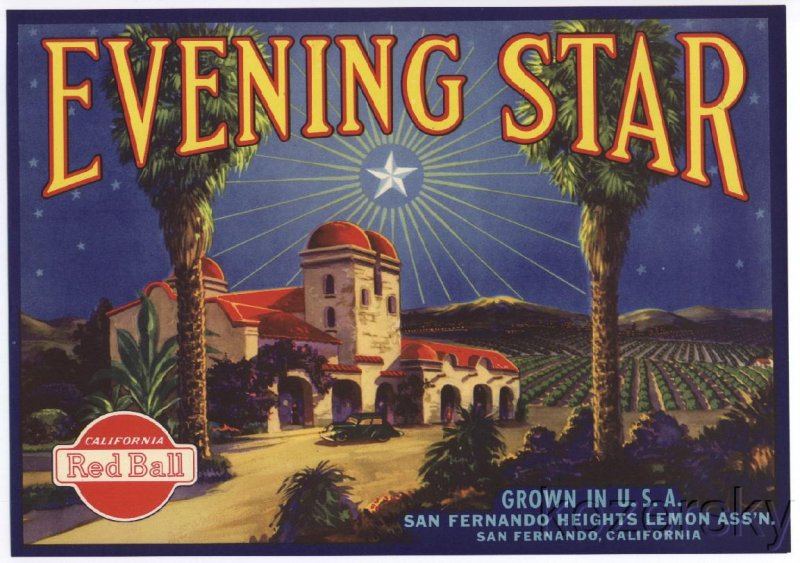 Evening Star Brand Lemon Crate Label