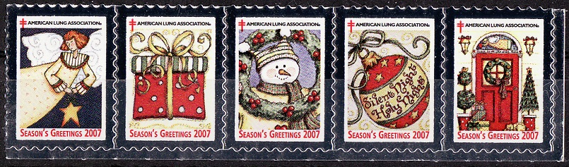 2007-1, 2007 U.S. Christmas Charity Seals, Strip of 5