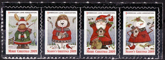 2009-1, 2009 U.S. Christmas Charity Seals, Strip of 4
