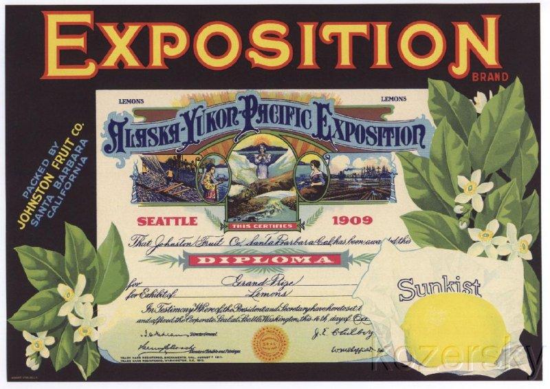 Exposition Brand Lemon Crate Label