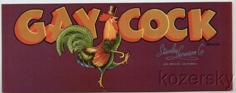 Gay Cock Brand Dancing Rooster Crate Label