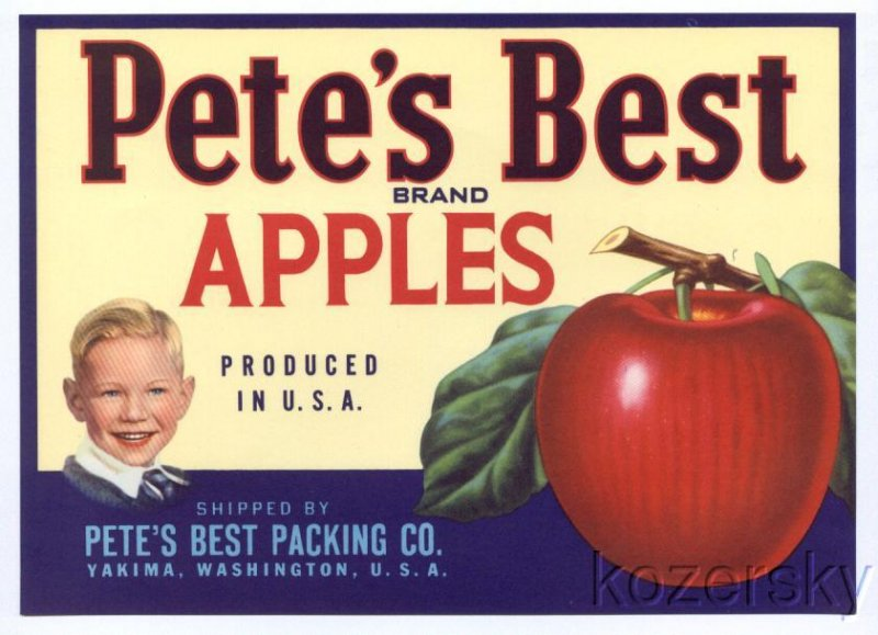 Pete's Best Brand Apple Crate label