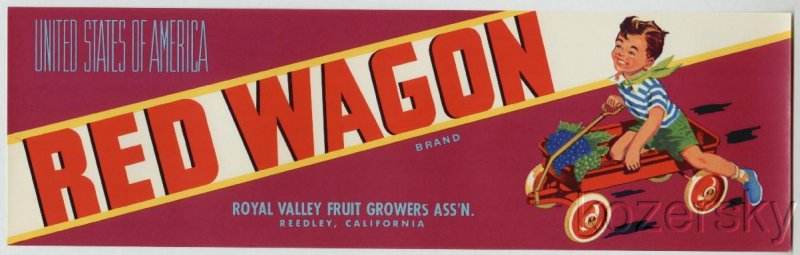Red Wagon Brand Grape Crate Label