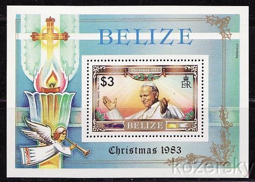 Belize, 698, Pope John Paul II, Christmas 1983, S/S