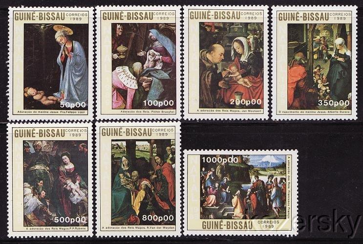 Guinea-Bissau, 865-71,  Christmas Paintings, Madonna and Child