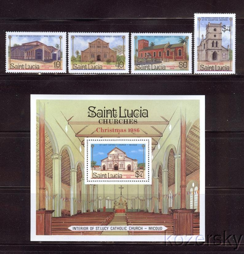 St. Lucia 867-71, Churches, Christmas Stamps, 1986