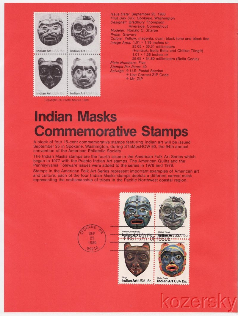 U.S. 1834-37, Indian Masks Commemorative USPS Souvenir Page