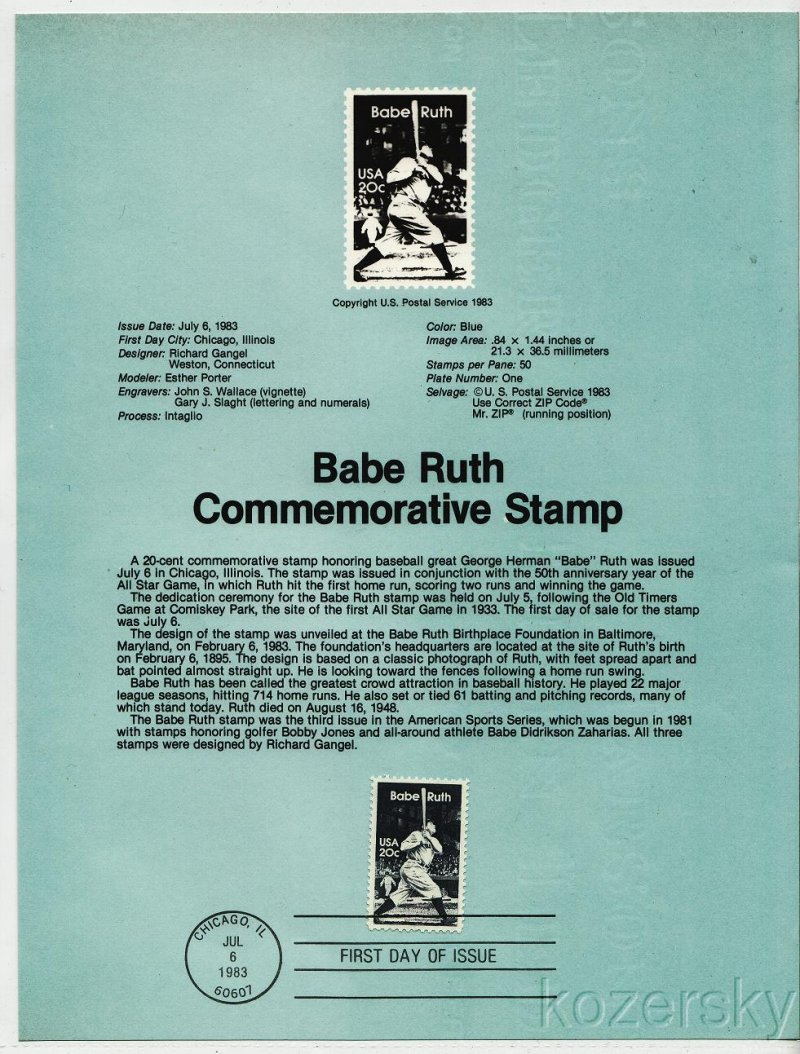 U.S. 2046, Babe Ruth Commemorative Stamp USPS Souvenir Page
