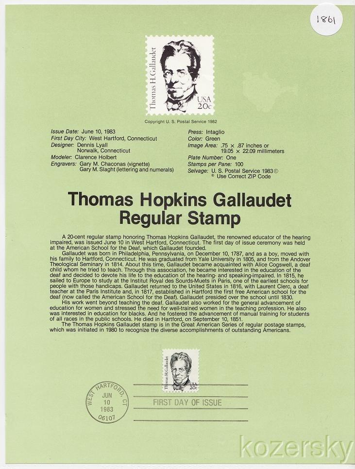 U.S. 1861, Thomas Hopkins Gallaudet, Regular Stamp, USPS Souvenir Page
