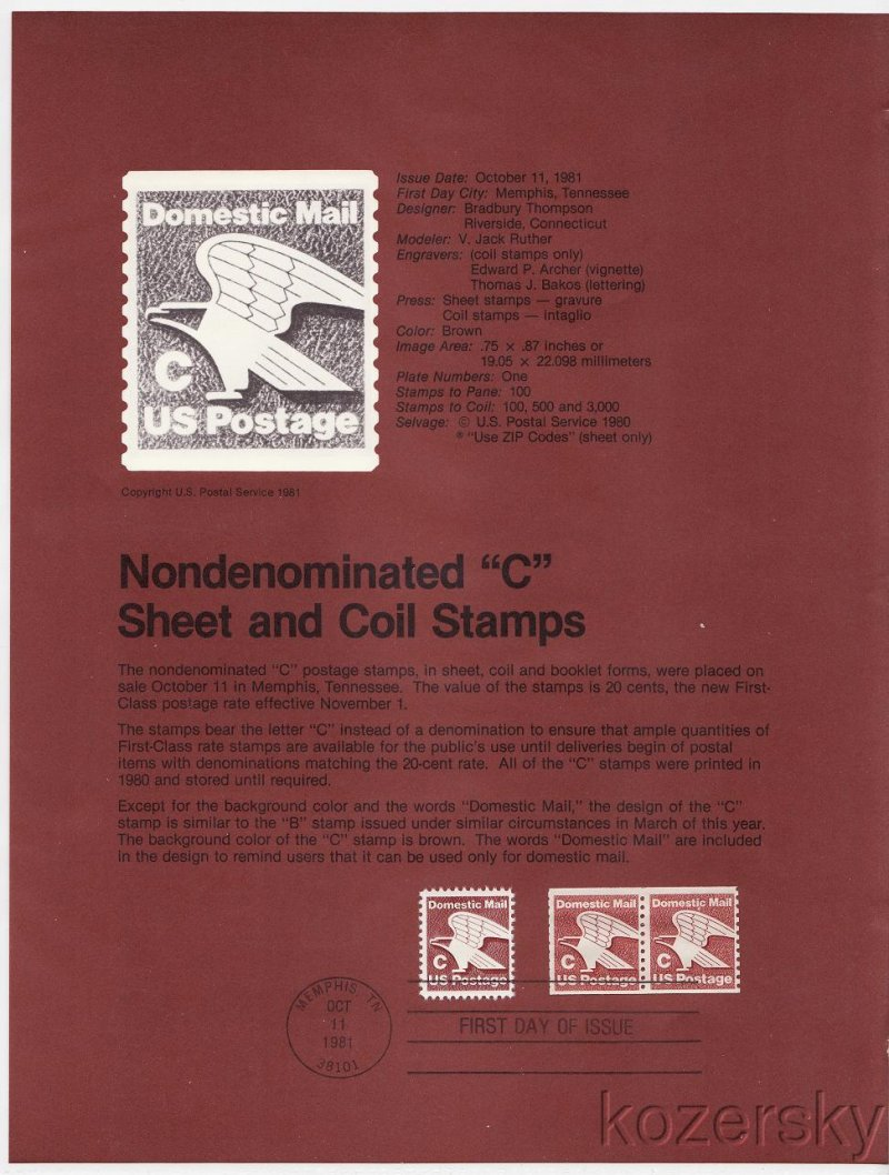 US 194647 C Sheet and Coil Stamps USPS Souvenir Page