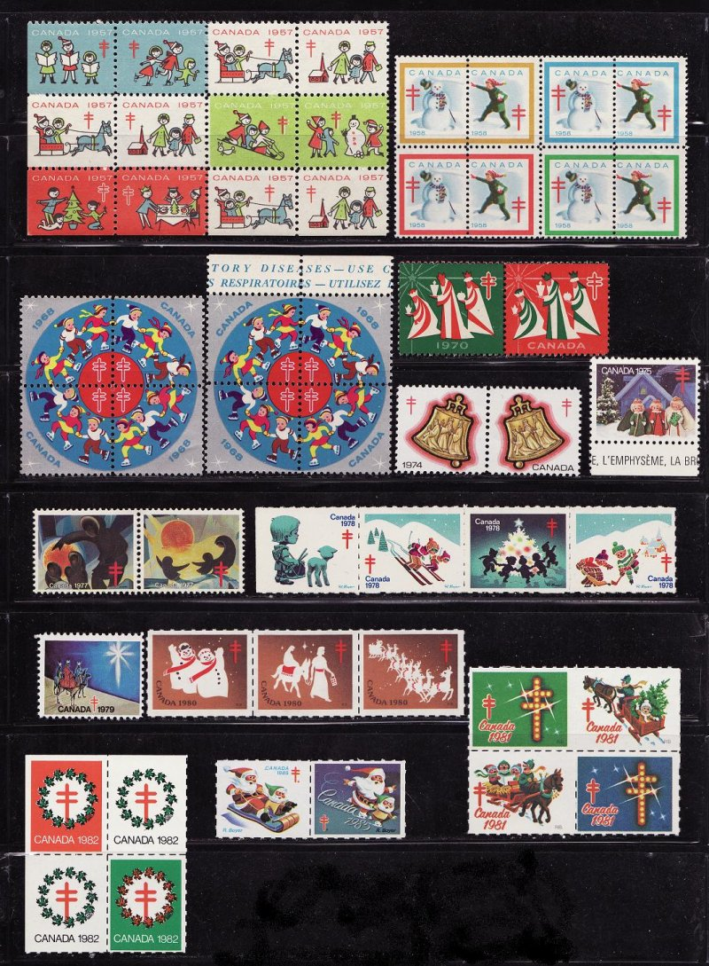 Canada Christmas Seal Collection, As Required, 1957-91