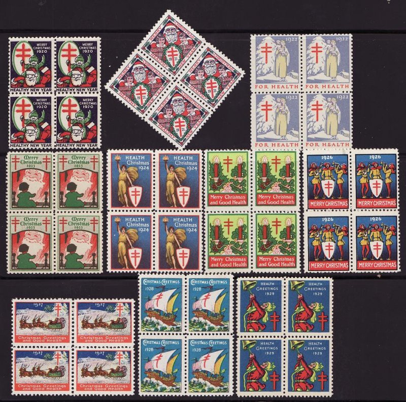 1920-29 U.S. National Christmas Seal Block Collection