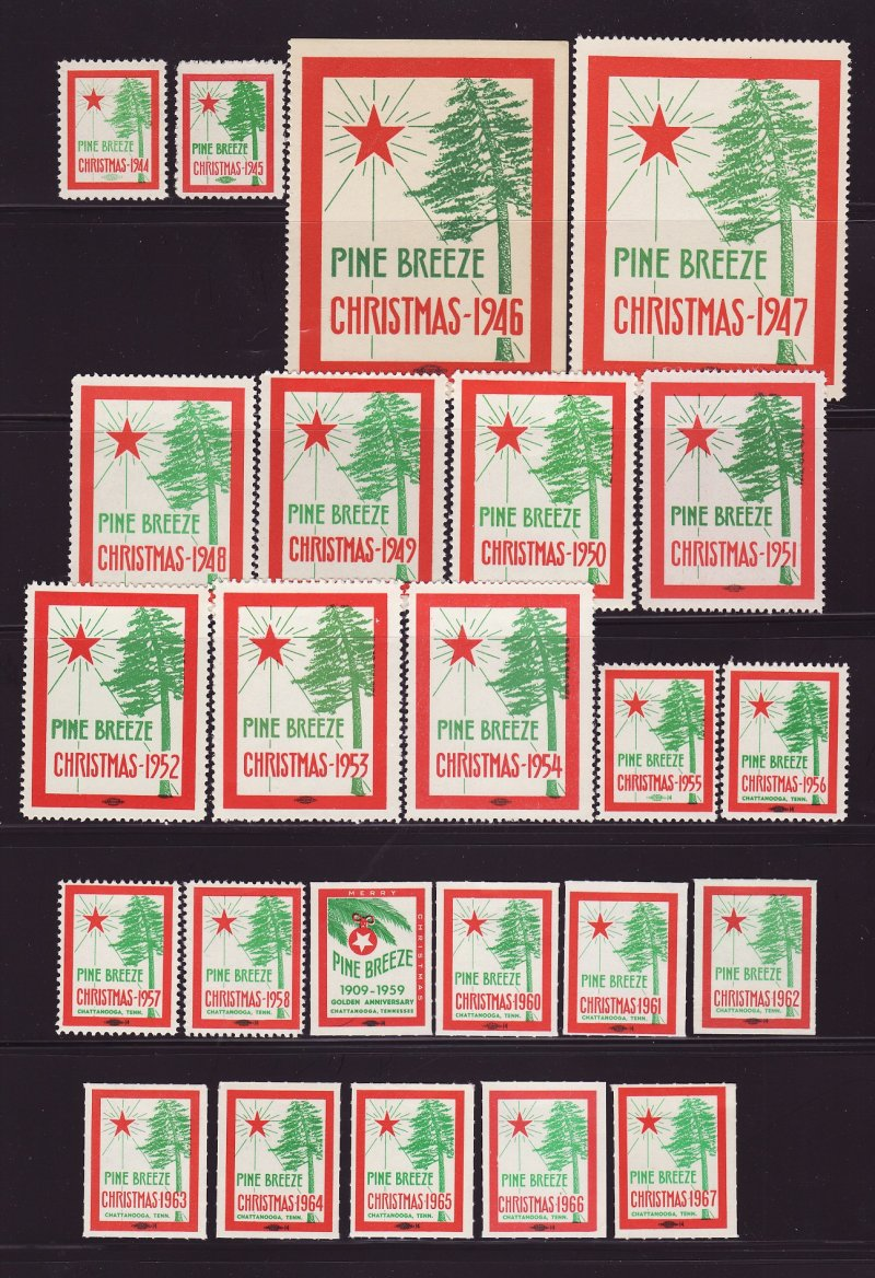 1944-67 Chattanooga Pine Breeze Tuberculosis Sanatorium TB Charity Seal Collection
