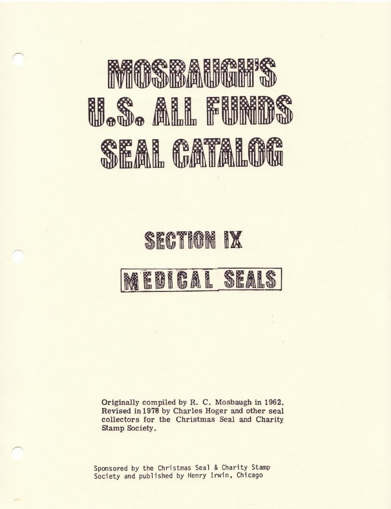 Thumbnail of  Mosbaugh's Catalog, Sec. 9, Medical Charity Seals, 1962 ed., Rev. 1978