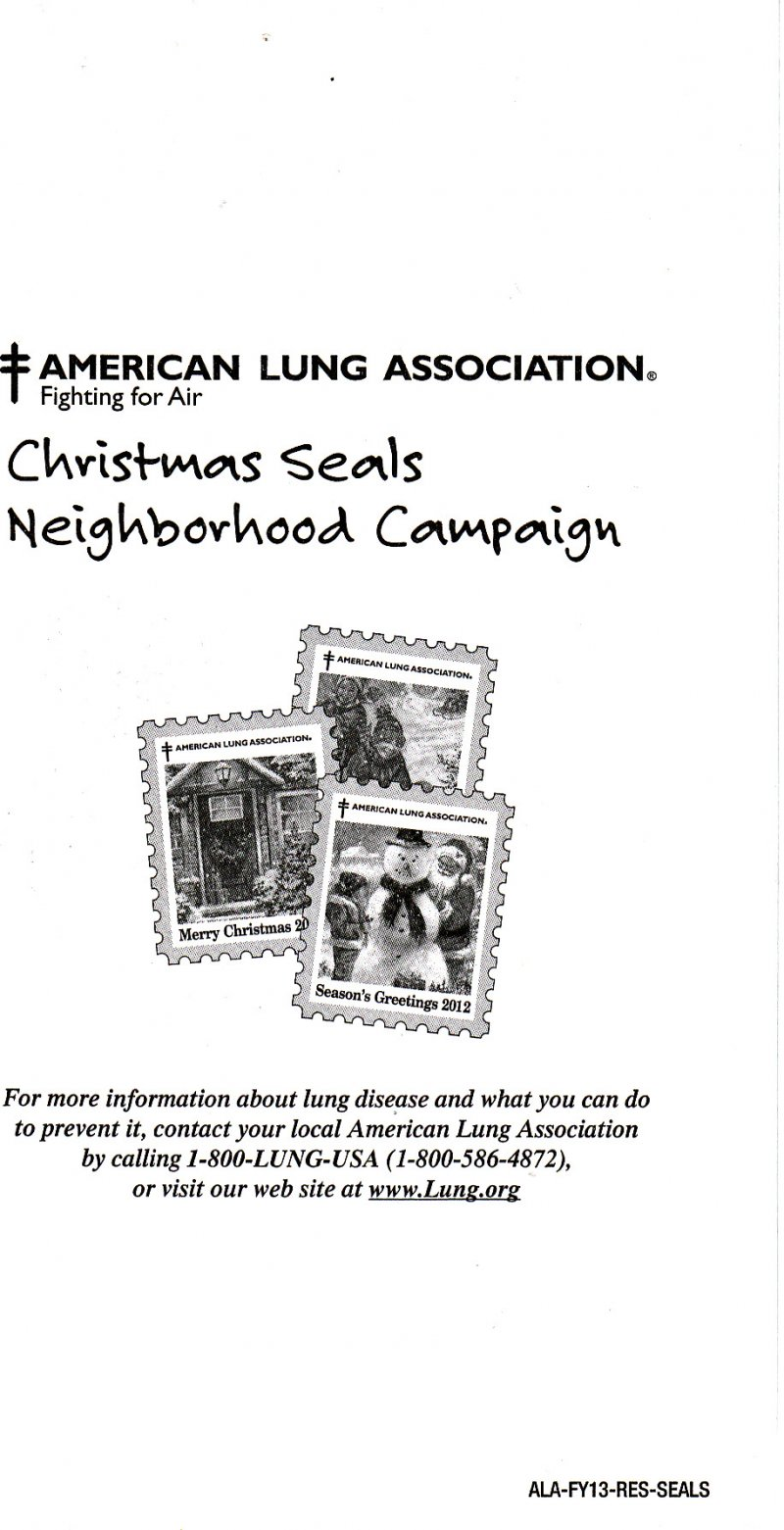 2012-1x11, 2012 U.S. National Christmas Seals Pane, ALA-FY13-RES-SEALS, back of pane