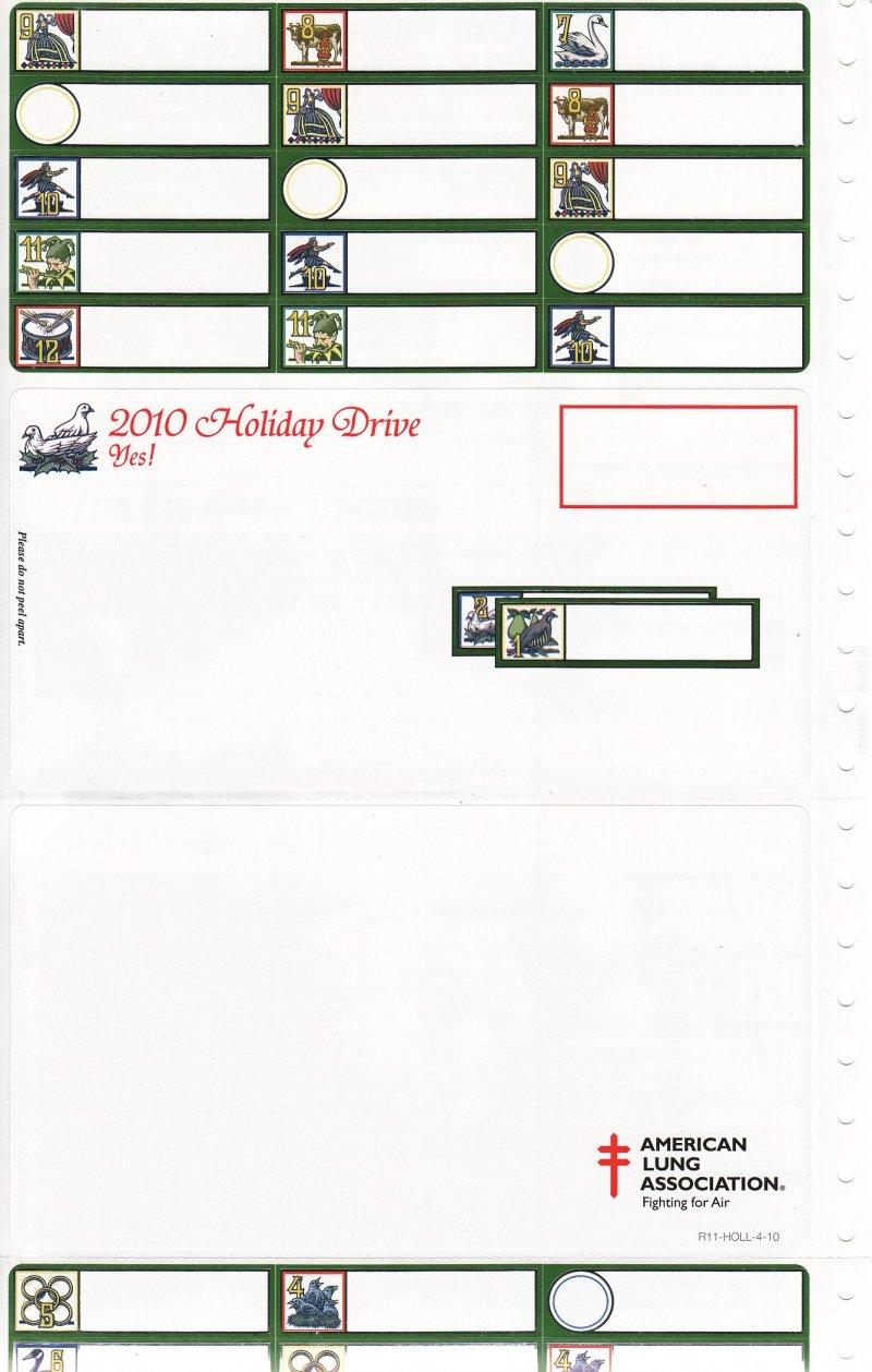 2010-T9x, 2010 U.S. Christmas Seals, Test Design, 12 Seals & ALs, R11-HOLL-4-10, Sheet 4