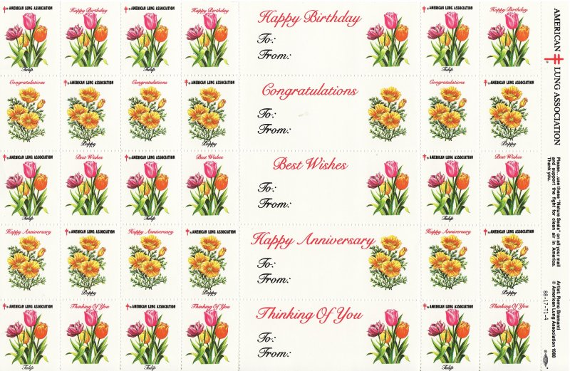 1988-S1, 1988 U.S. Spring Charity Seals Sheet, 88-17-T1-4