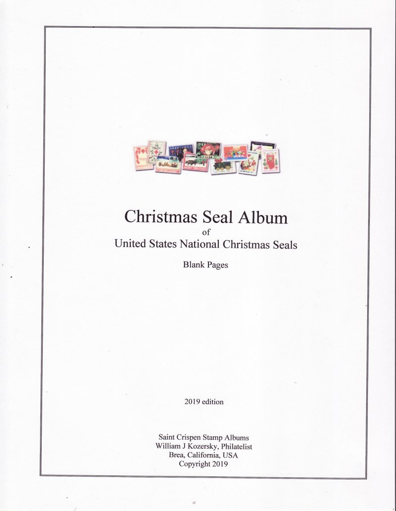 U.S. National Christmas Seal Stamp Album Pages, blank pages with title and border (white)