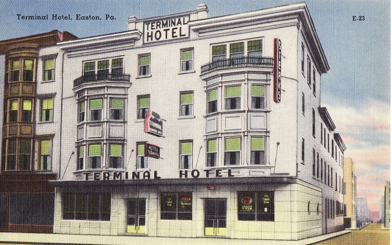 Terminal Hotel.  Easton, Pennsylvania.  Linen Postcard, back of postcard
