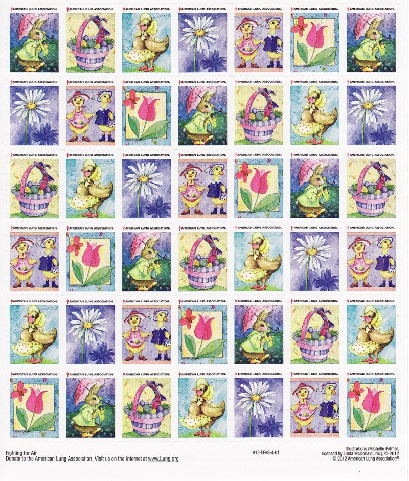 2012-S1x, 2012 U.S. Spring Charity Seals Sheet, R12-EFAS-4-01, reverse of sheet