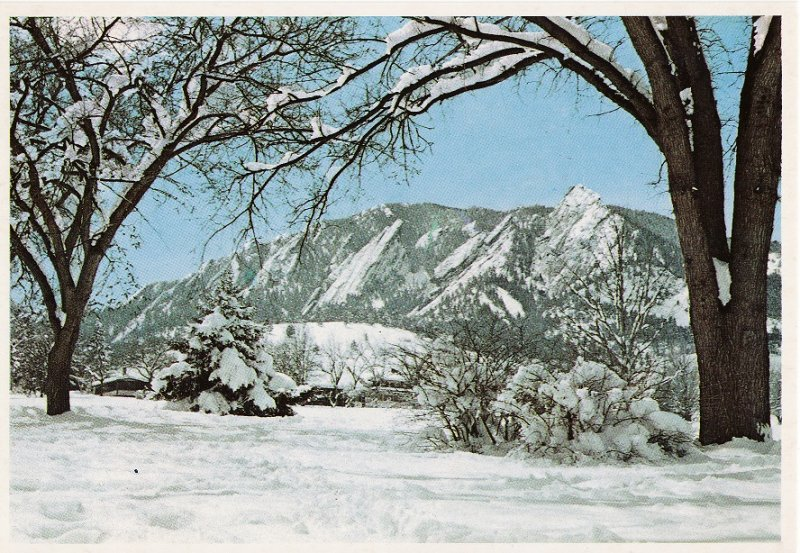 The Flatirons in Winter.  Boulder, Colorado Postcard, back of postcard.