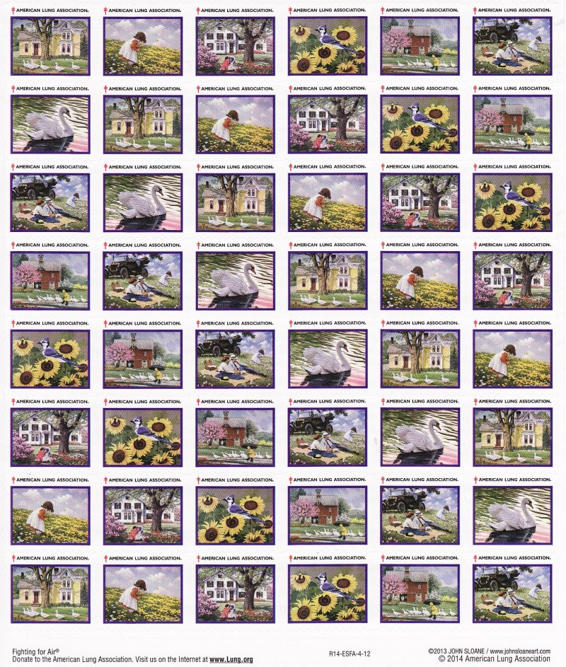 2014-S5x, 2014 U.S. Spring Charity Seals Sheet, R14-ESFA-4-12, reverse of sheet