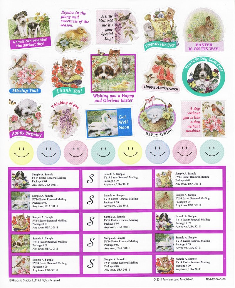 2014-S2.6x, 2014 ALA Spring Greeting Stickers & Address Labels, R14-ESFA-5-09, reverse of sheet