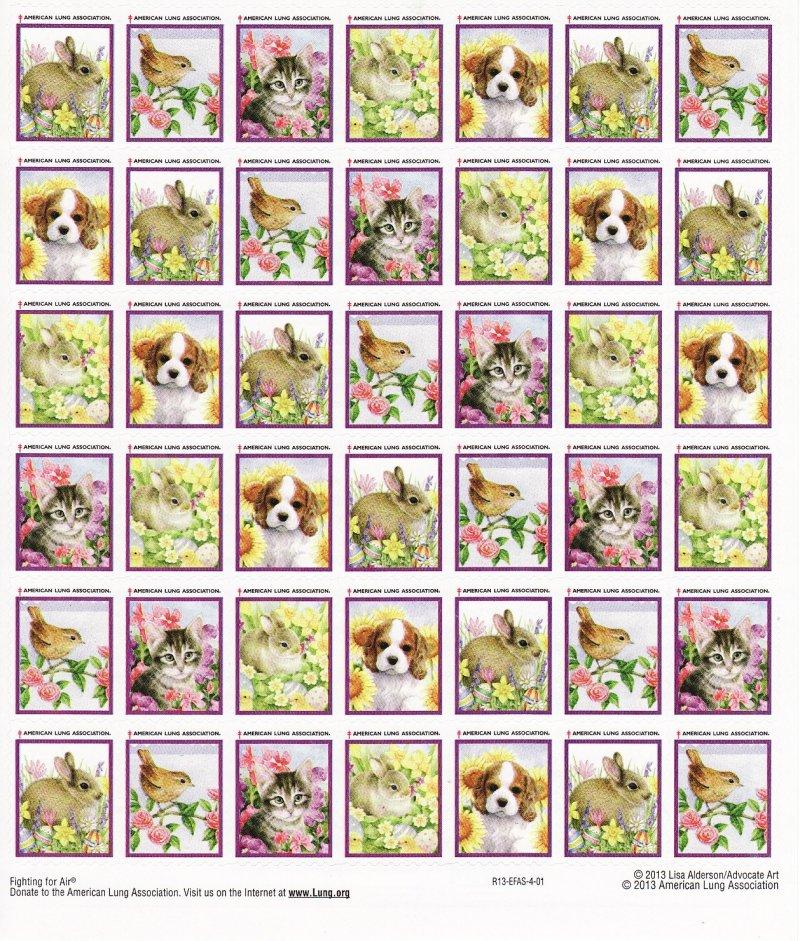 2013-S1x, 2013 ALA U.S. Spring Charity Seals Sheet, R13-EFAS-4-01, reverse of sheet