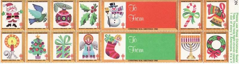 1982-T5, 1982 U.S. Christmas Seals, Test Design, As Required, Perf 12, Block/14