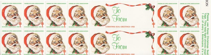 1982-T6, 1982 U.S. Christmas Seals, Test Design, As Required, Perf 12, Block/14