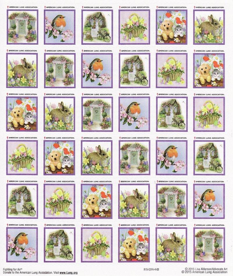 2014-S1x, 2014 U.S. Spring Charity Seals, Sheet/42, #R14-ESFA-4-01, reverse of sheet