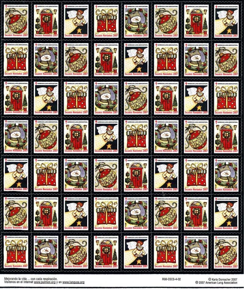 2007-1.1x1, 2007 Spanish Text U.S. National Christmas Seals, Sheet/56, R08-CSCS-4-02, reverse of sheet